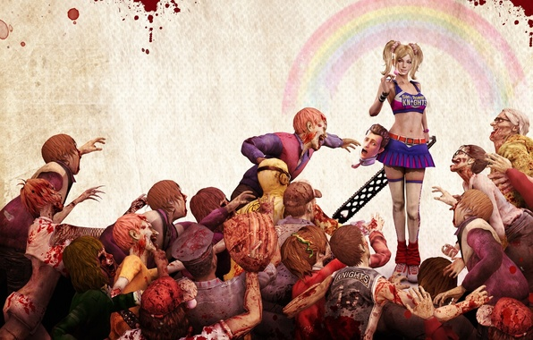 Picture girl, blood, head, zombies, electric, Lollipop chainsaw
