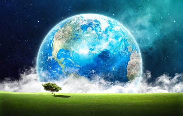 Picture field, grass, space, stars, clouds, landscape, fiction, tree, earth, planet