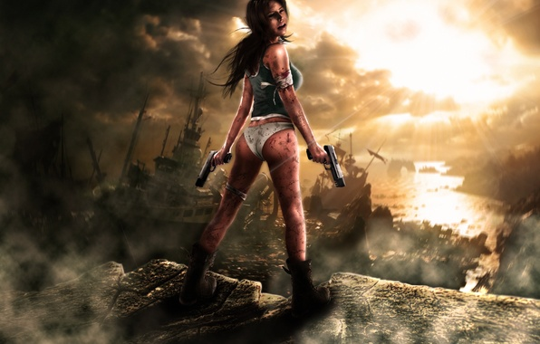 Picture girl, rays, clouds, stones, blood, guns, ships, Tomb Raider, Lara Croft, bandage