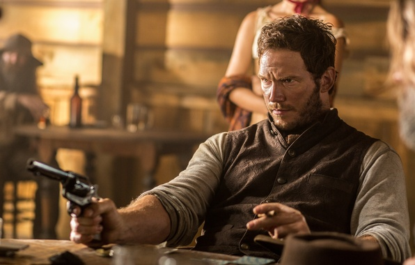 Picture table, frame, hat, cigar, revolver, Western, Chris Pratt, Chris Pratt, The Magnificent Seven, The magnificent …