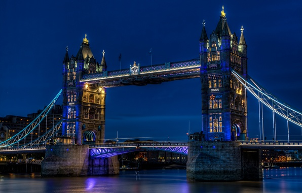 Picture the sky, night, city, the city, lights, river, England, London, lighting, backlight, UK, Thames, blue, ...