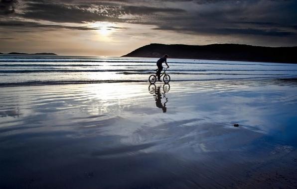 Picture sea, beach, landscape, sunset, bike