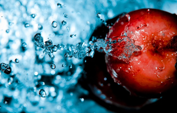 Picture drops, movement, Apple, water