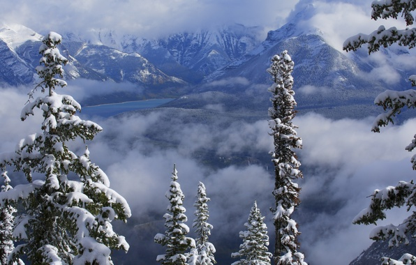 Picture winter, clouds, snow, trees, mountains, lake, Canada, Albert, Banff National Park, Alberta, Canada, Banff, Canadian …