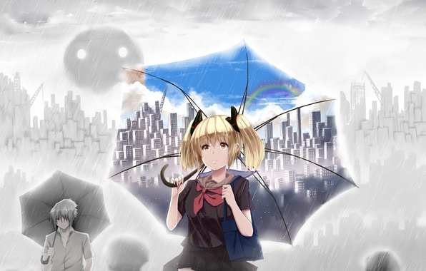 Picture the sky, girl, clouds, the city, people, rain, home, rainbow, umbrella, anime, art, schoolgirl, guy, …