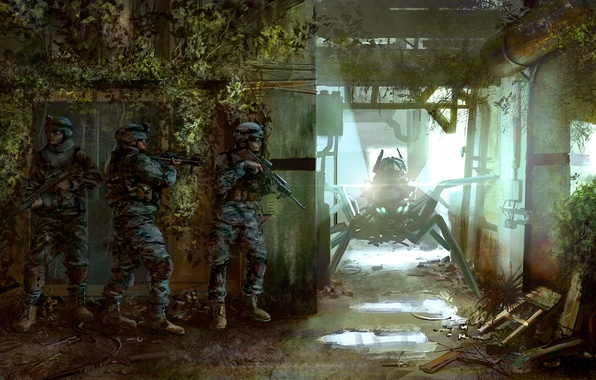 Picture weapons, room, thickets, the building, robot, art, ambush, soldiers, equipment, the room, special forces