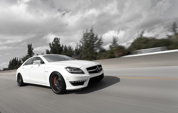 Picture white, Mercedes-Benz, speed, AMG, Mercedes Benz, CLS-class, C218, CLS 63