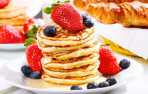 Picture berries, blueberries, strawberry, honey, pancakes, croissants, pancakes, pancakes