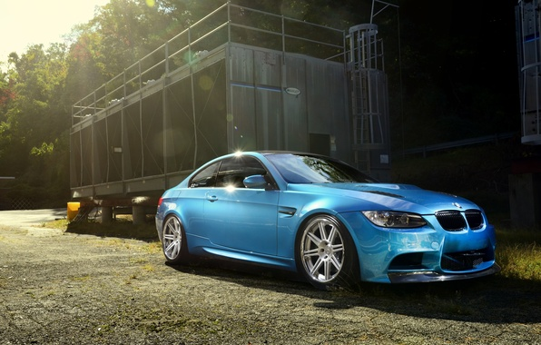 Picture the sun, trees, blue, shadow, BMW, BMW, Blik, side view, e92, Atlantic blue