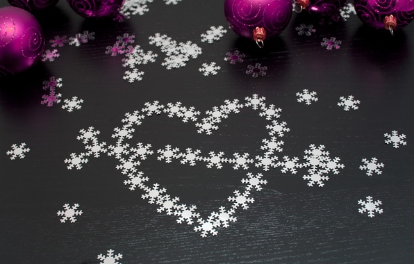 Picture snowflakes, holiday, balls, heart, new year, Christmas, arrow, christmas, new year, sequins
