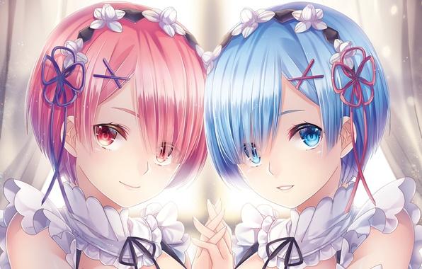 Picture face, anime, art, sisters, Ram, Rem, Re: Zero kara hajime chip isek or Seikatsu