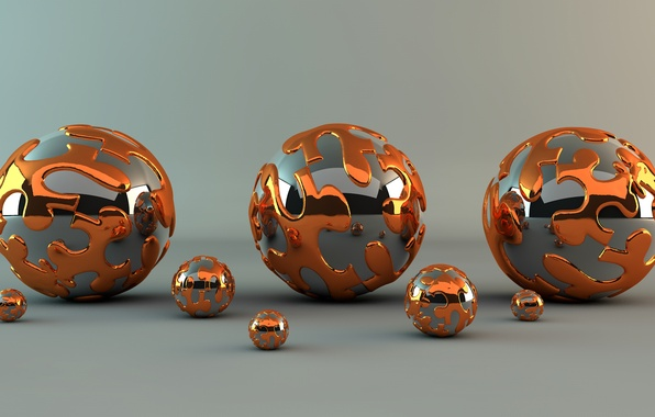 Picture metal, abstraction, reflection, pattern, Shine, ball, ball