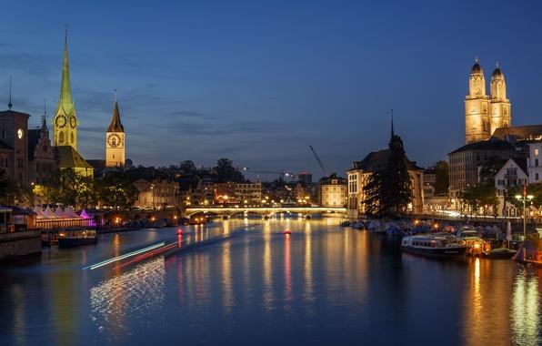 Picture night, bridge, lights, river, watch, home, Switzerland, lights, tower, boats, piers, Zurich