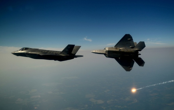 Picture F-22, Raptor, UNITED STATES AIR FORCE, Lightning II, F-35, In the air, Lockheed Martin, The ...