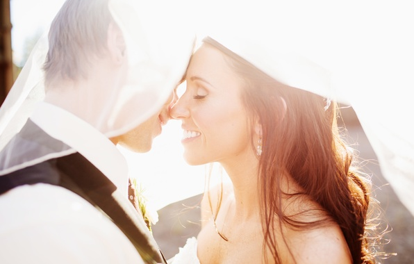Picture girl, smile, holiday, profile, guy, lovers, two, the bride, the groom