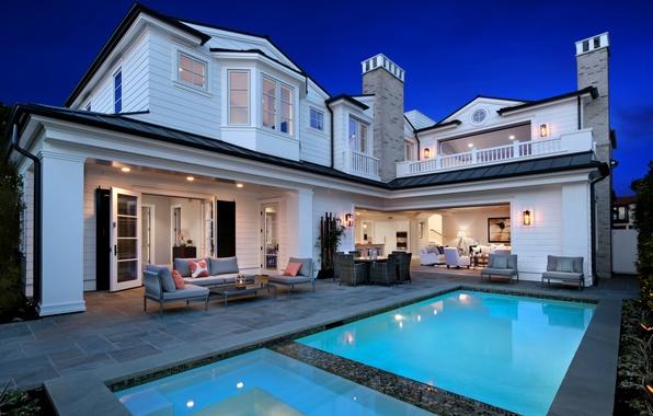 Picture design, lights, house, Villa, interior, the evening, pool, USA, Newport Beach