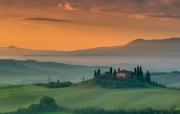 Picture the sky, trees, house, field, Italy, estate, Tuscany