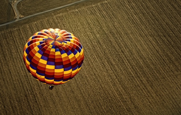 Picture road, field, strip, balloon, earth, view, the view from the top