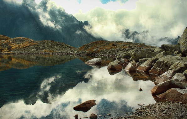 Picture clouds, mountains, fog, lake, reflection, stones, rocks