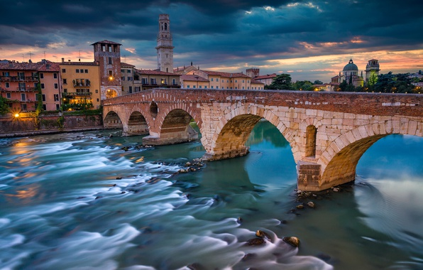 Picture bridge, river, building, Italy, Italy, Verona, Verona, Veneto, Adige River, the Adige river, The Stone ...
