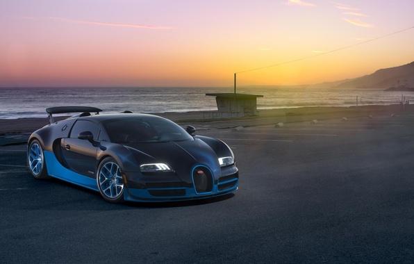 Picture Sunset, Sea, Bugatti, Bugatti, Veyron, Veyron, Supercar, Supercar, Grand Sport, Vitesse