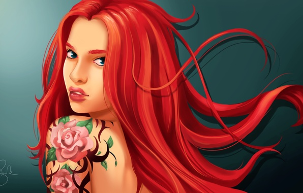 Picture look, girl, tattoo, art, red hair