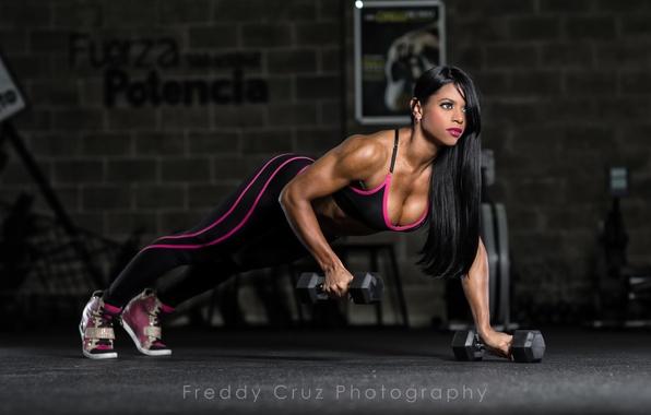 Picture brunette, workout, fitness, dumbbells, push-ups
