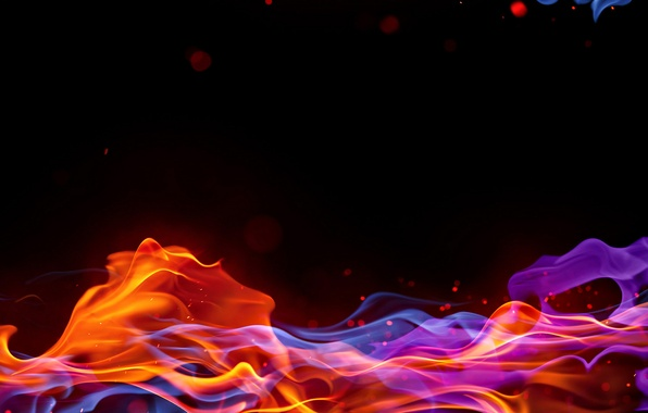 Picture wave, night, fire, flame, Wallpaper, smoke, color, Blik