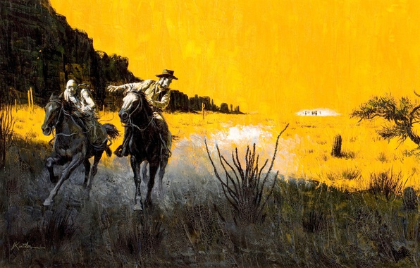 Picture chase, horse, Prairie, cowboys, wild West, Mort Künstler