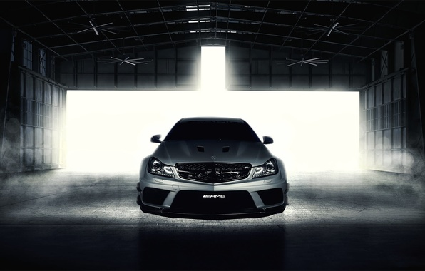 Picture Mercedes-Benz, silver, hangar, AMG, front, Mercedes Benz, Black Series, C63, silvery, C-Class, Fernandez World Photography