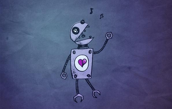 Wallpaper Heart, Robot, Love Images For Desktop, Section