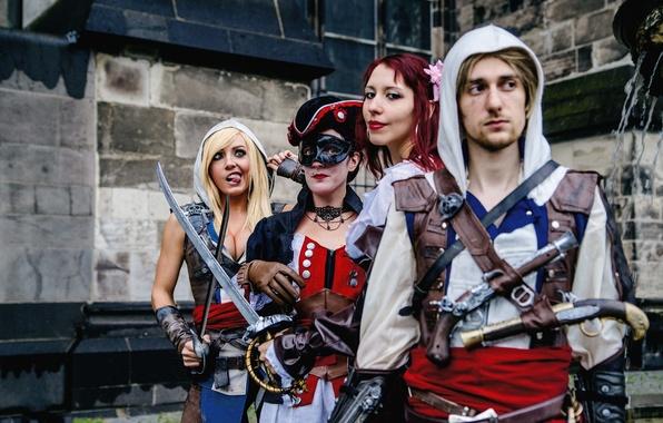 Picture dress, men, women, Assassin's Creed, cosplay, blonde, antique firearms, swords. pose, Jessica nigri