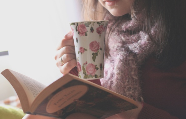Picture girl, flowers, background, Wallpaper, pattern, mood, figure, brunette, mug, book, flowers, owner, page, wallpapers, reading, …