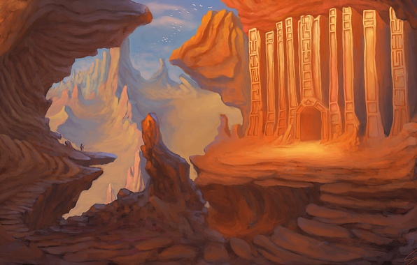 Picture mountains, birds, people, art, traveler, painted landscape