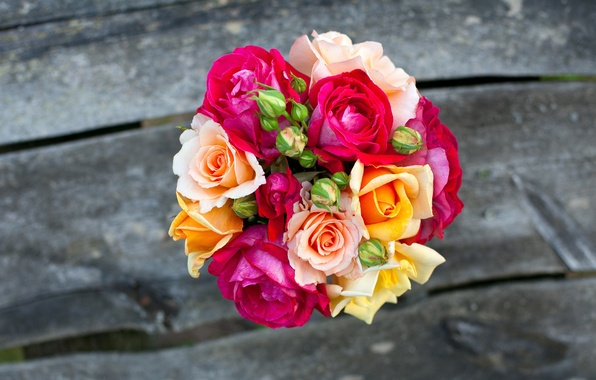 Picture flowers, Board, roses, bouquet, yellow, pink