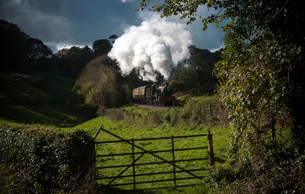 Picture nature, smoke, train, the engine, cars