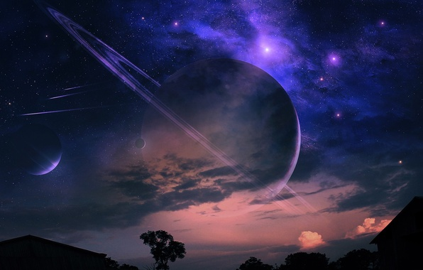 Picture clouds, landscape, night, nebula, house, tree, planet, ring, meteors, starry sky