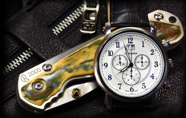 Picture arrows, lightning, watch, leather, knife, chris reeve, adriatica, Swiss, folding, strap