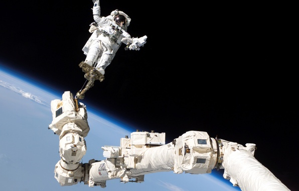 Picture space, astronaut, Earth, orbit, ISS, astronaut, manipulator