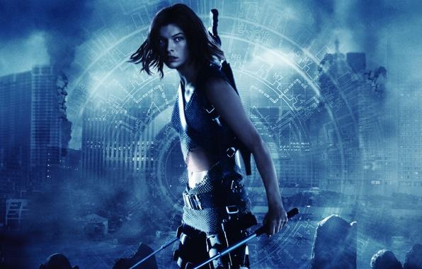 Picture home, destruction, Resident evil, Resident Evil, Milla Jovovich, Milla Jovovich, blue tone