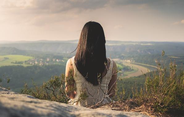 Picture girl, rock, river, long hair, dress, mountain, evening, village, hair, valley, top, horizon, vegetation