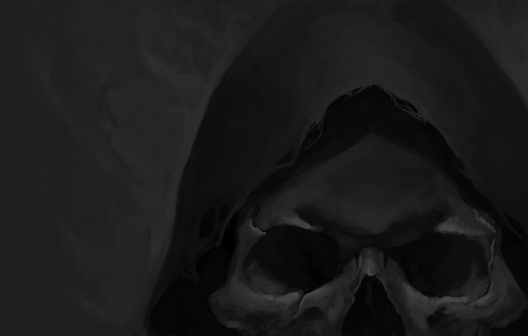 Picture skull, head, art, hood, grey background, gloomy
