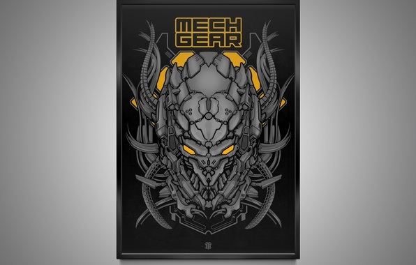 Picture metal, creative, figure, robot, cyborg, print, print, mechgear