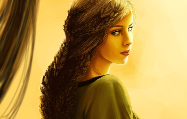 Picture eyes, look, girl, face, hair, dress, art, braids, netting