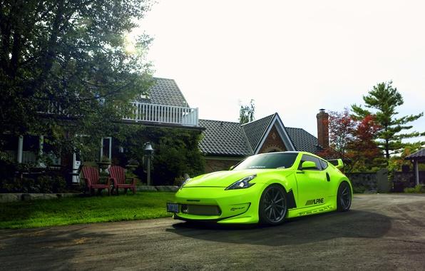 Picture green, Nissan, tuning, 370z, vossen wheels, frontside