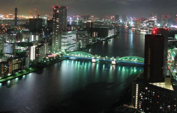 Picture night, bridge, river, Tokyo, japan