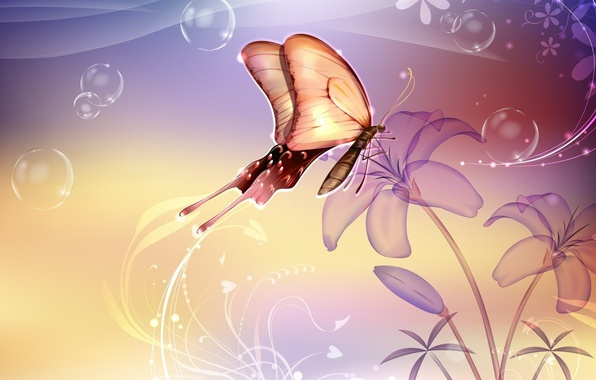 Picture flower, bubbles, butterfly, Abstraction