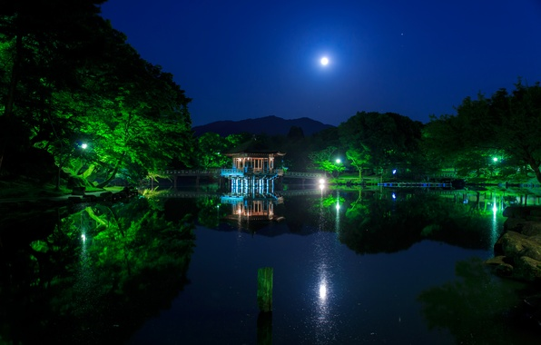 Picture the sky, water, trees, night, bridge, lights, pond, Park, reflection, the moon, Japan, lights, pagoda, …