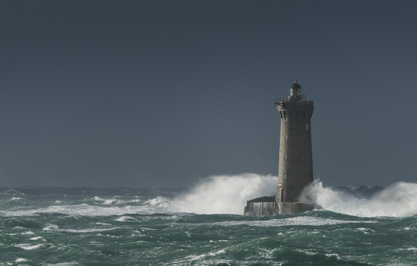 Photo wallpaper sea, the storm, wave, the sky, lighthouse, the troubled sea