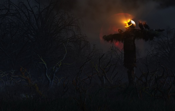 Picture forest, trees, night, rendering, the moon, head, art, pumpkin, crows, scary, Halloween, stuffed, gloomy, holidays, ...